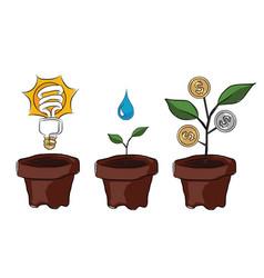 idea planting creativity and innovation make money vector image