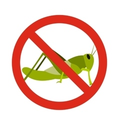 Prohibition sign grasshoppers icon flat style vector image vector image