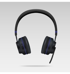 Realistic Black Headphones with microphone vector image vector image