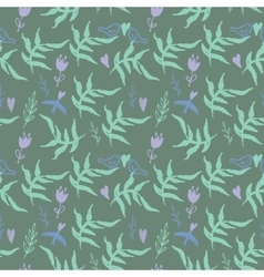 Seamless pattern with weed flowers and birds vector image