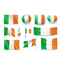 set ireland flags banners banners symbols flat vector image