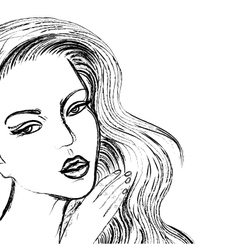 sketch of beautiful women face like drawn by coal vector image vector image
