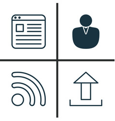 Web icons set collection of wifi send data vector