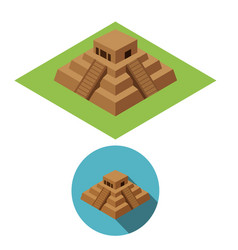 chichen itza icons in isometric style vector image vector image