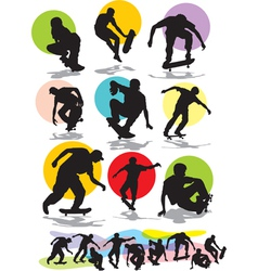 set skaters silhouettes vector image