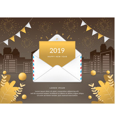 2019 happy new year with mail envelope vector