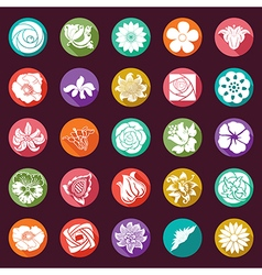 25 modern flowers icons - sets vector image