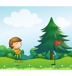 A girl playing golf in the hill vector