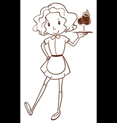 A simple sketch of a waitress vector image