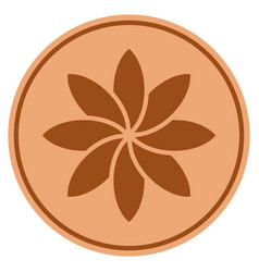 abstract flower bronze coin vector image