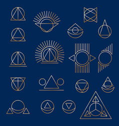 abstract geometric tattoo set on blue background vector image