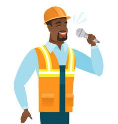 African-american builder singing to the microphone vector