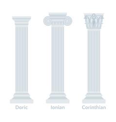 Ancient greek columns flat icons types doric vector