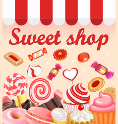 Background with sweet desserts food candy vector