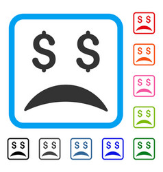 bankrupt sad emotion framed icon vector image