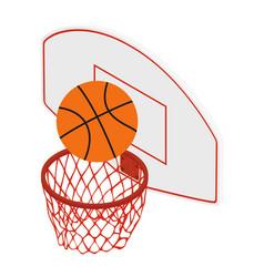 basketball ball and basket vector image