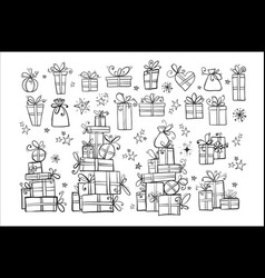 big collection doodle gift boxes on white vector image