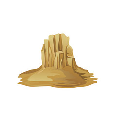 big rocky mountain surrounded with sand desert vector image
