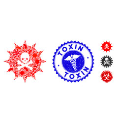 Biohazard collage viral toxin icon with healthcare vector
