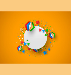 birthday card template with paper party decoration vector image