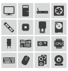Black PC components icons set vector