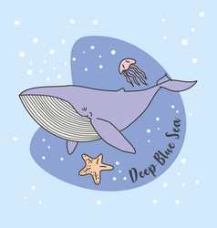 blue whale jelly fish in blue sea vector image