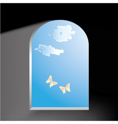 Butterflies in the window vector