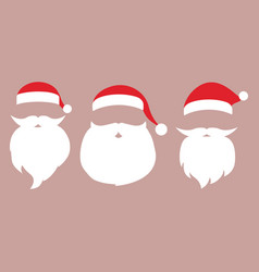 cap and mustache with a beard of santa claus vector image