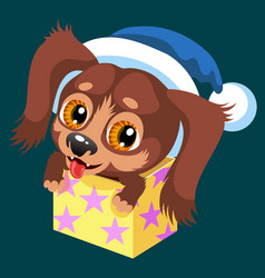 cartoon brown puppy sitting in present box vector image