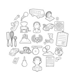children store icons set outline style vector image