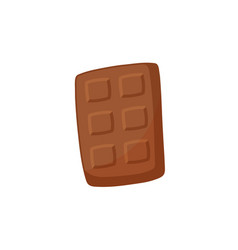 Chocolate bar with square dividing parts flat vector