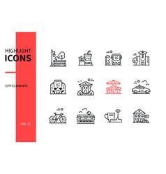 city elements - line design style icons set vector image