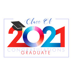 Class 2021 year graduation red and blue digits vector