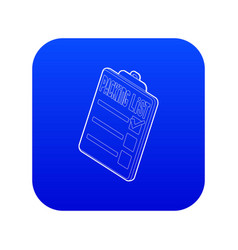 Clipboard with packing list icon blue vector
