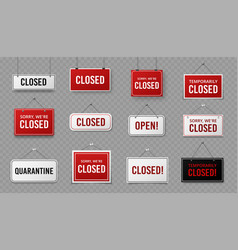 closed sign information signboard with rope vector image