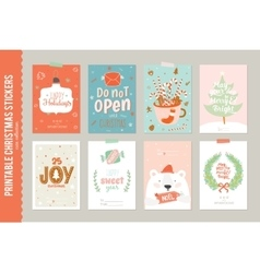Collection of 8 Christmas gift tags and cards vector image