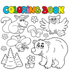 coloring book with forest animals 1 vector image