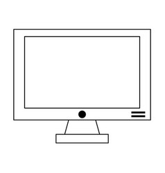 computer screen hardware isolated in black and vector image