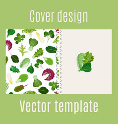 Cover design with salad leaves pattern vector