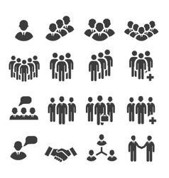Crowd people in team icon silhouettes vector
