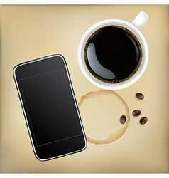 Cup Of Coffee With Mobile Phone vector image