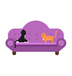 Cute black and red cats sitting on a purple sofa vector