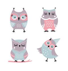 cute cartoon owls set vector image