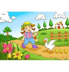 Cute little farmers girl at a farm vector
