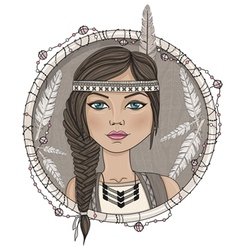 Cute native american girl and feathers frame vector