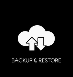 Data cloud icon backup and restore sign vector