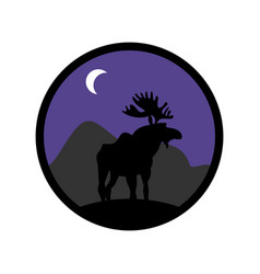 Deer emblem moose logo animal with horns wild vector