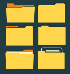 documents folder icon set business document vector image