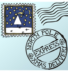 doodle christmas stamps vector image