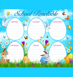 easter egg hunt school timetable or schedule vector image